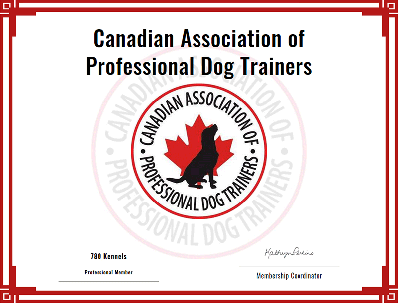 Canadian Association of Professional Dog Trainers accreditation for 780 Kennels.