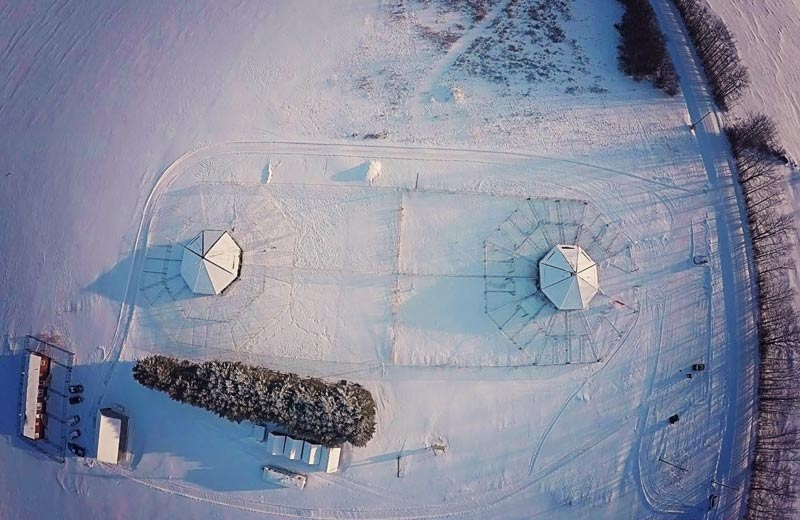 Drone photo of 780 Kennels in the winter.