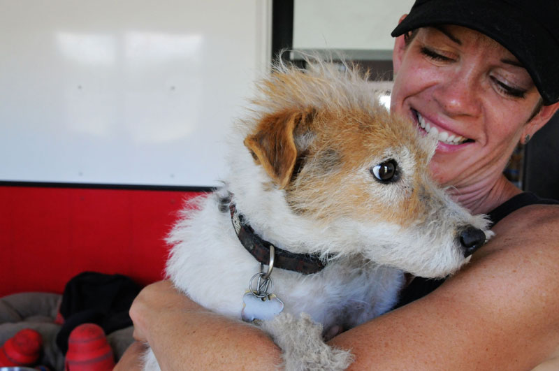 Jack Russell with caregiver.