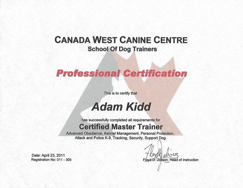 Master Trainer certification.