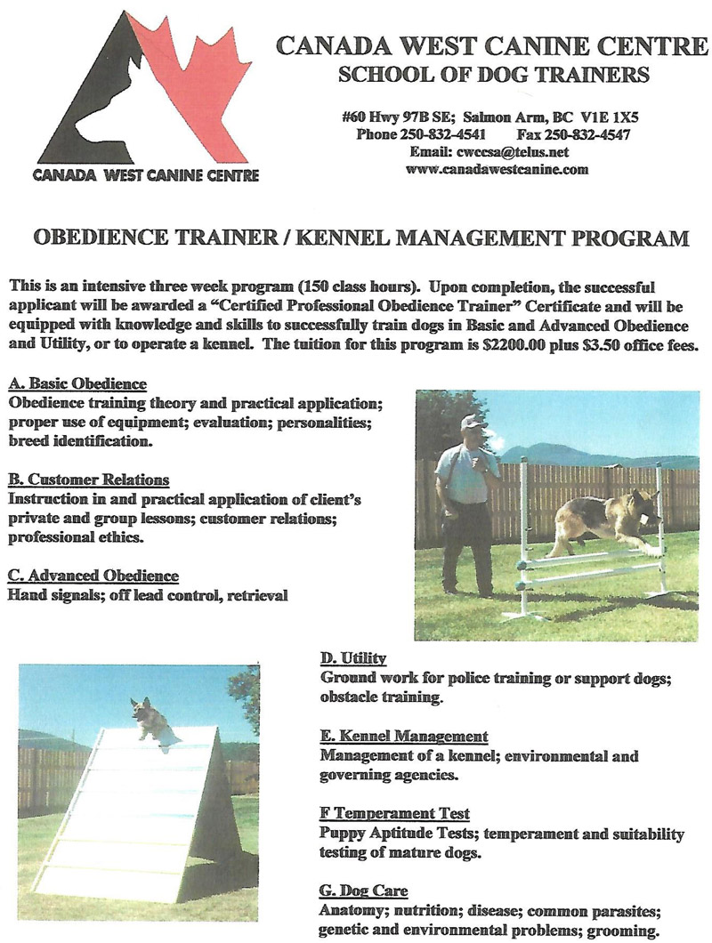 Obedience Trainer course outline.