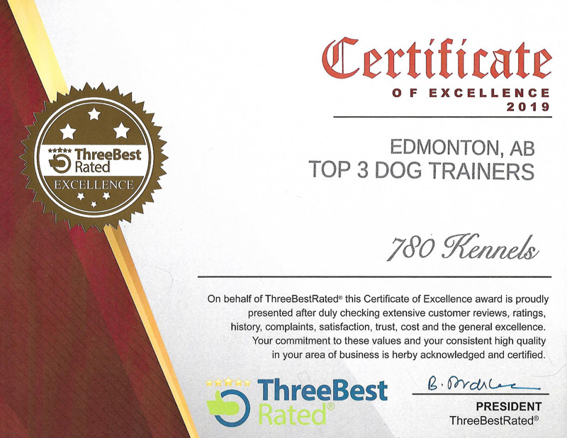 Top 3 dog trainers Edmonton, AB, certificate of excellence 2019 from Three Best Rated.