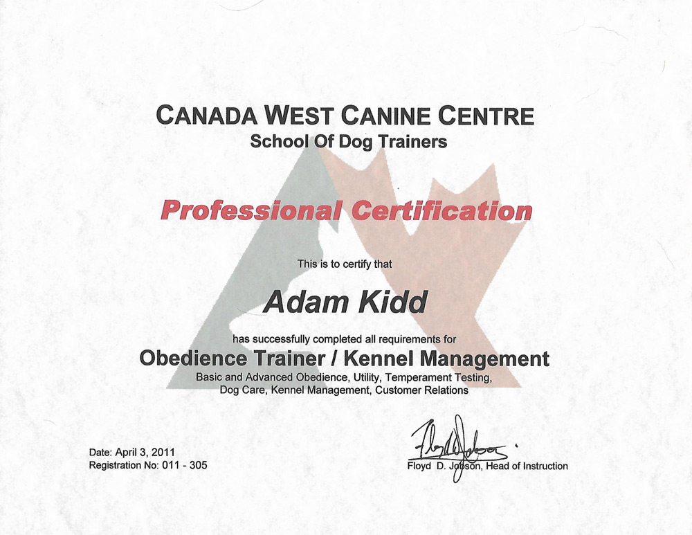 Canine training school certification #011-305; issued April 23, 2011.